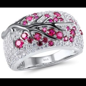 Luxurious women 925 sterling silver band ring plum